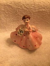 (damaged) Vintage Girl in Pink Polka Dot Dress Flower Bouquet - $14.84