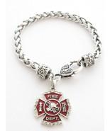 Fireman Firefighter Shield Fashion Lobster Claw Bracelet Jewelry Maltese... - $12.65
