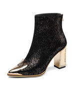 Tugelan lady's plating booties, genuine leather, size 3-10.5, black - $138.80