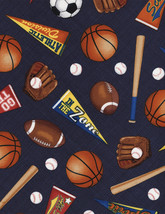 Timeless Treasures Mixed Sports Navy 100% cotton fabric by the yard - $295,09 MXN