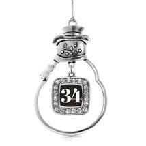 Inspired Silver Number 34 Classic Snowman Holiday Decoration Christmas T... - $14.69