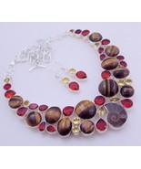 Ammonite Fossil- Tiger's Eye-Citrine-Garnet   Silver Overlay  Necklace F... - $53.46