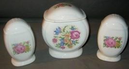 Vintage Mid Century Grease Jar & Salt & Pepper Shakers Needlepoint Flora... - $46.74