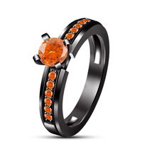 Orange Sapphire Round Cut 925 Silver 14k Black Gold Fn. Engagement Weddi... - ₹6,095.44 INR