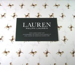 Ralph Lauren Beagles on White Sheet Set, Queen - $87.00