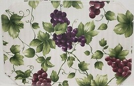 "SET OF 4 SAME FABRIC PLACEMATS 12"" x 18"", GRAPES # 20, horizontal lines ... - $17.81"