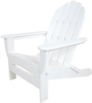 POLYWOOD Patio Adirondack Chair Folding UV Protected Plastic White Pre-A... - $376.95