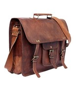 "New 15"" Vintage Briefcase Goat Satchel Soft Leather Office Travel Messen... - $63.26"