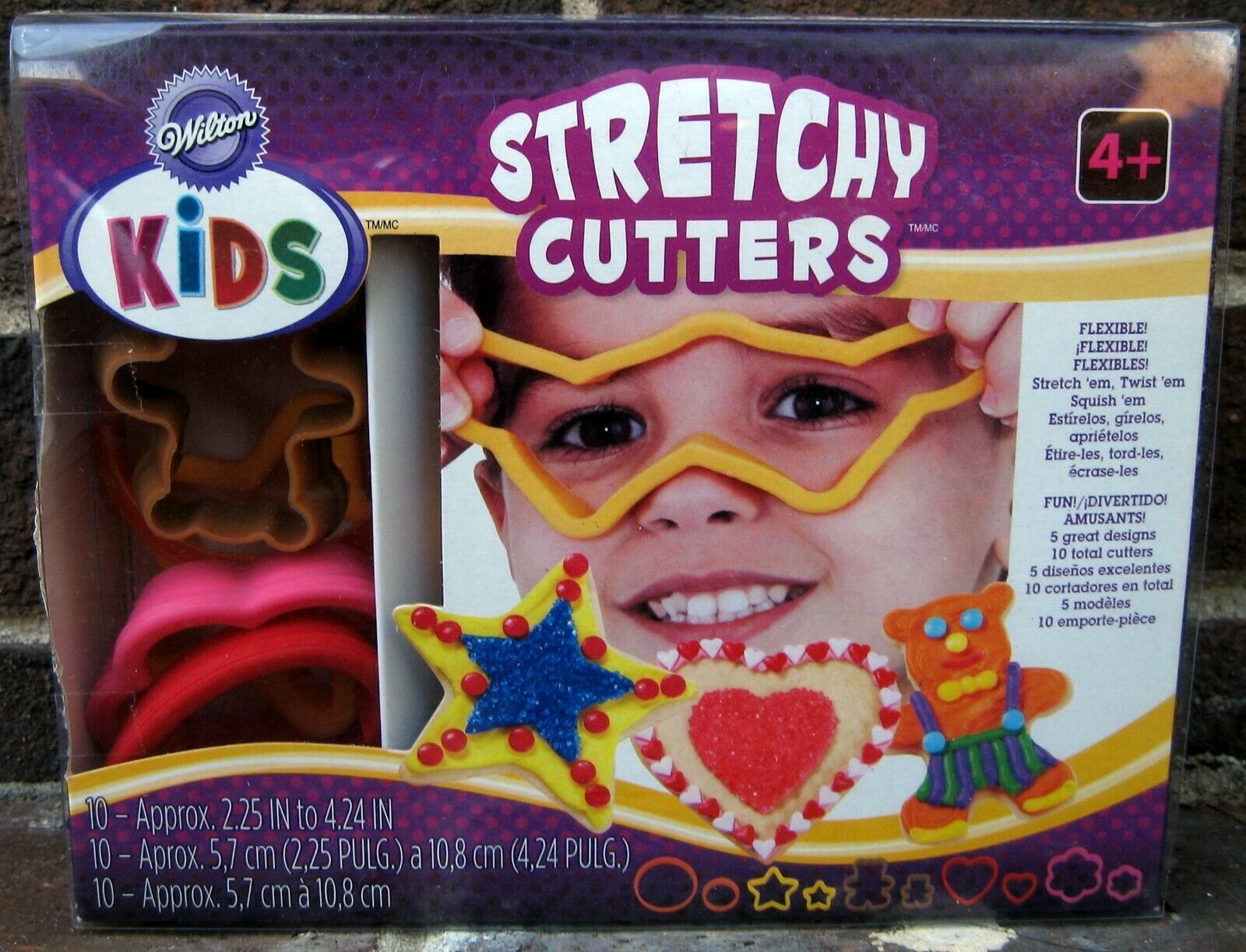 Primary image for Wilton Kids Stretchy Cutters Cookie Box Set Star Bear Heart Flower New Flexible