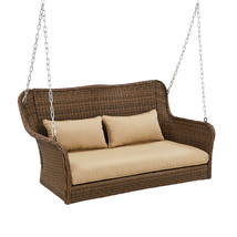 Wicker Outdoor Porch Swing with Cushions Color: Light Brown image 2