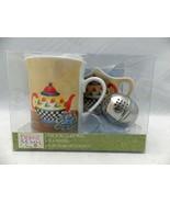 Debbie Mumm - Tea set - Porcelain mug, tea infuser & spoon rest - new in... - $6.93