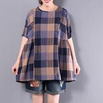 ZANZEA Summer Women Plaid Check O Neck Ruffles Blouse Casual Splice Shor... - $31.02