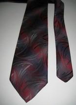 "Wembley Necktie WemSilk Steel Gray With Maroon Hues Silk Blend 55 x 3 1/8"" - $10.88"