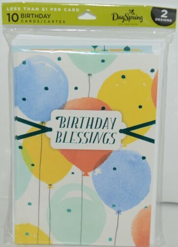 Day Spring WW1015 Birthday Blessings Cards Contains 5 each of 2 Designs Pkg 10