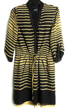 Adrianna Papell Dress Women's 4 Draw String 3/4 Sleeve Striped Gold Black - $19.99