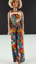 Barbie Clone Mod Floral Outfit Cotton Halter w/ Matching Pants 1970s Clo... - $19.79