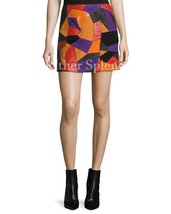 Colorblock Women Leather Mini Skirt