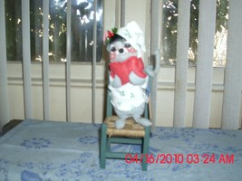 Used Mouse Sitting In A Chair Holding A Water Bottl Annalee Doll With TAGS-1991 - $9.79