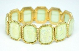 Yellow Metallic Foil Acrylic Stretch Bracelet Gold Tone - $19.79