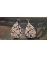 Faux Leather Dangle Earrings (new) BUTTERFLIES ON YELLOW - $5.54