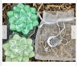 Personalized Charm Necklace,Succulent Handmade Soap,Birthday Set,Sterlin... - $24.99