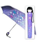 KOKESHI DOLL UMBRELLA Purple Folding w Hard Case Geisha Girl Japanese La... - $12.95