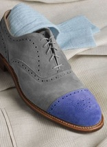 Handmade Men's Two Tone Heart medallion Grey & Purple Lace Up Oxford Suede Shoes image 4