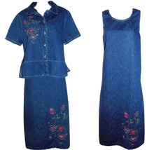 Studio Ease   Size 12   Denim Jean  Dress Suit w/Embroidered Flowers - $12.19