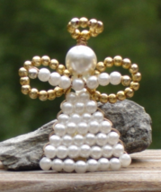 Vintage Beaded Angel Pin Brooch, Faux Pearl, Gold and White - $3.00