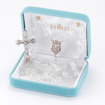 Sterlng Silver Rosary made with Clear Swarovski Crystals - $161.12