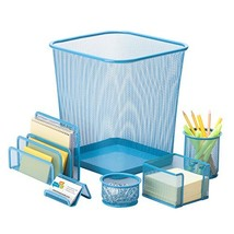 Honey-Can-Do 6-Piece Powder Coated Steel Mesh Desk Set, Blue - €27,53 EUR