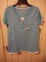 Women's Made For Life Short Sleeve Layered T Shirt Blue Stripe Size Medium NEW - $14.84