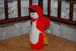 Vintage Red Riding Hood Doll Hand Knitted East Germany - $67.54