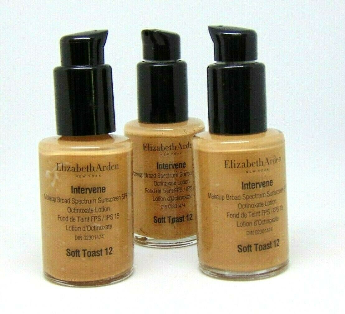 Lot of 3 ELIZABETH ARDEN INTERVENE Makeup No.12 Toast 1.0Fl.oz/ 30ml - $14.80