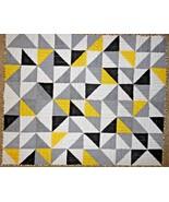 Handmade Quilt Toddler Child Yellow Grey White Black Pinwheel Triangle G... - $48.49
