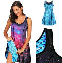 Women Summer Reversible 3D Nebula Galaxy Evening Dress Vintage Mermaid V... - $28.69