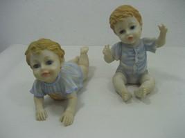 Vintage J&J Set of Two Baby Boy Statue Figurines Crawling & Sitting Up Blue - $14.80