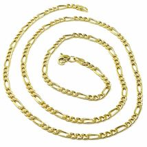 9K GOLD CHAIN FIGARO GOURMETTE ALTERNATE 3+1 FLAT LINKS 3mm, 60cm, 24 INCHES image 3
