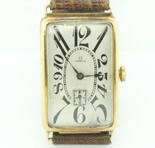 Men's Vintage Omega Long Tank Watch Heavy 18k Yellow Gold Rare 1920's  #... - $4,158.00