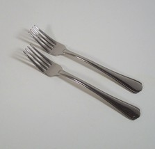 "Oneida Dahlia 2 Salad Forks 7"" Glossy Stainless Steel Scallop Outline - $11.99"