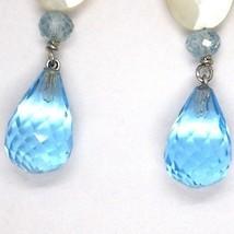 Drop earrings 18k White Gold, Topaz Blue, madrepela, Aquamarine image 2