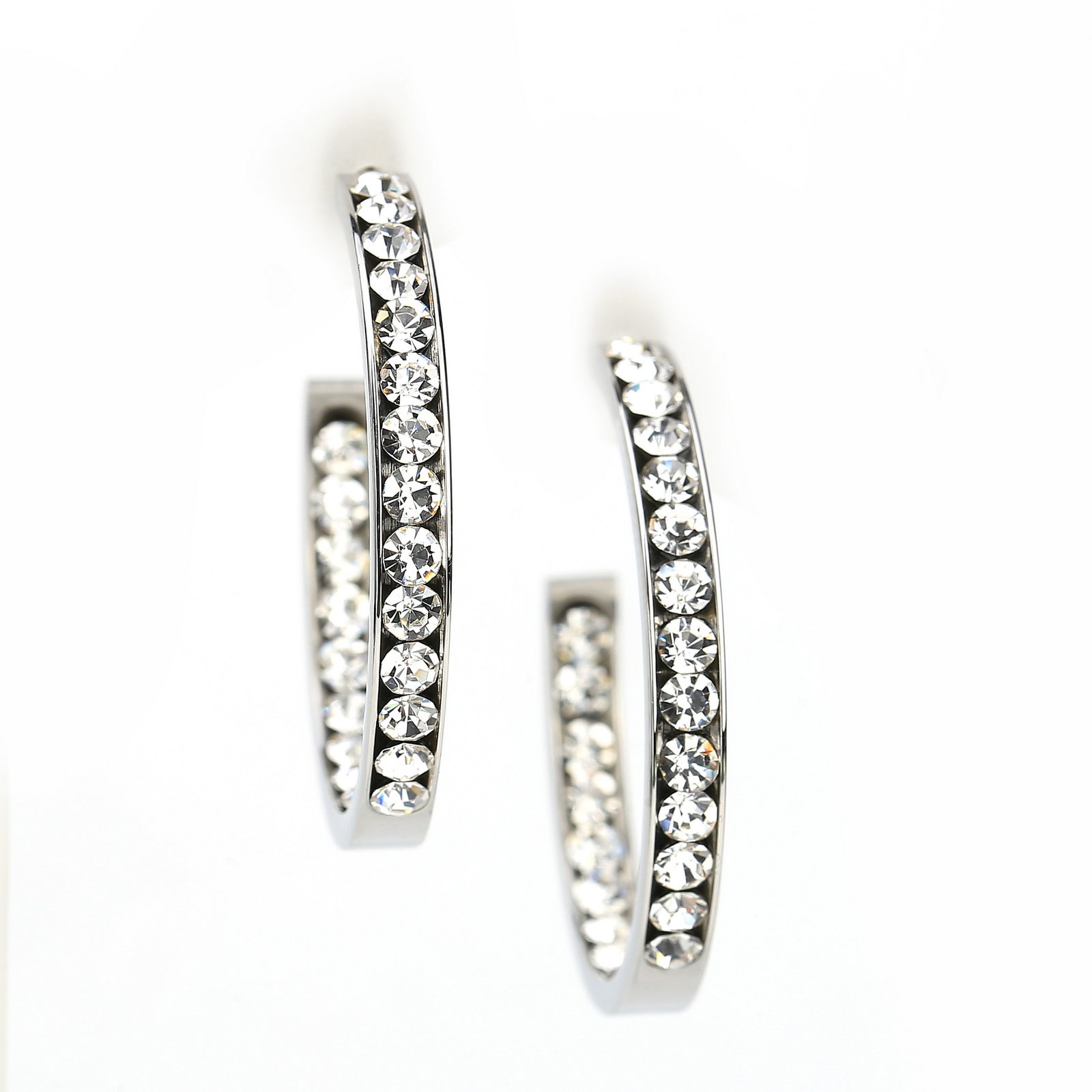 UNITED ELEGANCE Silver Tone Hoop Earrings With Dazzling Swarovski Style Crystals