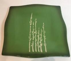 Wendover Lane Embossed White Bamboo Pattern Set of 4 Green Dinner Plates - $54.45