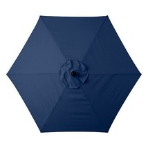 Nautical Blue 6 Foot Deluxe Patio Umbrella Crank Tilt White or Bronze Frame - $123.95