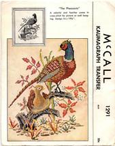 Pheasants Vintage Kaumagraph Transfer 1946 McCall 1291 Cross Stitch Patt... - $22.76