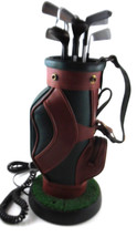 Golf Bag Novelty Corded Phone Clubs Green Brown Touch Tone Astroturf Gra... - $18.99