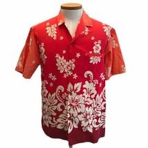 Royal Creations Men's Red Orange BrigFloral Hawaiian Shirt Size L Made I... - $23.20