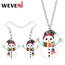 WEVENI Enamel Alloy Christmas Anime Snowman Jewelry Sets Earrings Drop D... - $16.06
