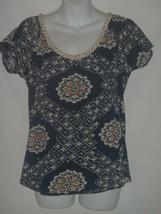MEDIUM M Womens Lucky Brand Boho Shirt Short Sleeves Jersey Knit Blue Wo... - $18.55