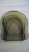 AVON HORSE SHOE ASH TRAY WITH HORSE HEAD, BROWN GLASS - $13.85